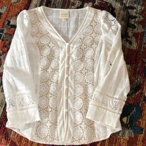 Anthropologie fitted white blouse